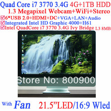 High quality all in one i7 pc with WLED screen Intel H61 Quad core i7 3770 3.4Ghz 8 Threads Intel HD 4000 Graphic 4G RAM 1TB HDD(China (Mainland))
