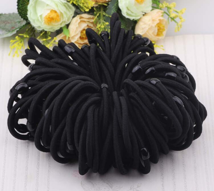 5.5cm 100pcs/lot 2015 Top Selling Elastic Hair Bands Black Ponytail Holders Rope Hair Accessory Girl Women Rubber Bands Tie Gum(China (Mainland))