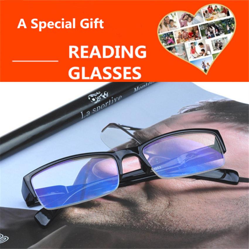 Half Frame Men Non spherical Reading Glasses Women Men Film Blue Elderly Eye Glasses Slim Presbyopia Round Reading glasses Men's(China (Mainland))