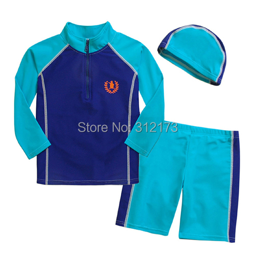 Vivo-biniya New Style Children Swimsuit 2-16T Boys Summer Beach Swimming Suit Long Sleeve Clothes+Shorts+Hats - lianliannishang store