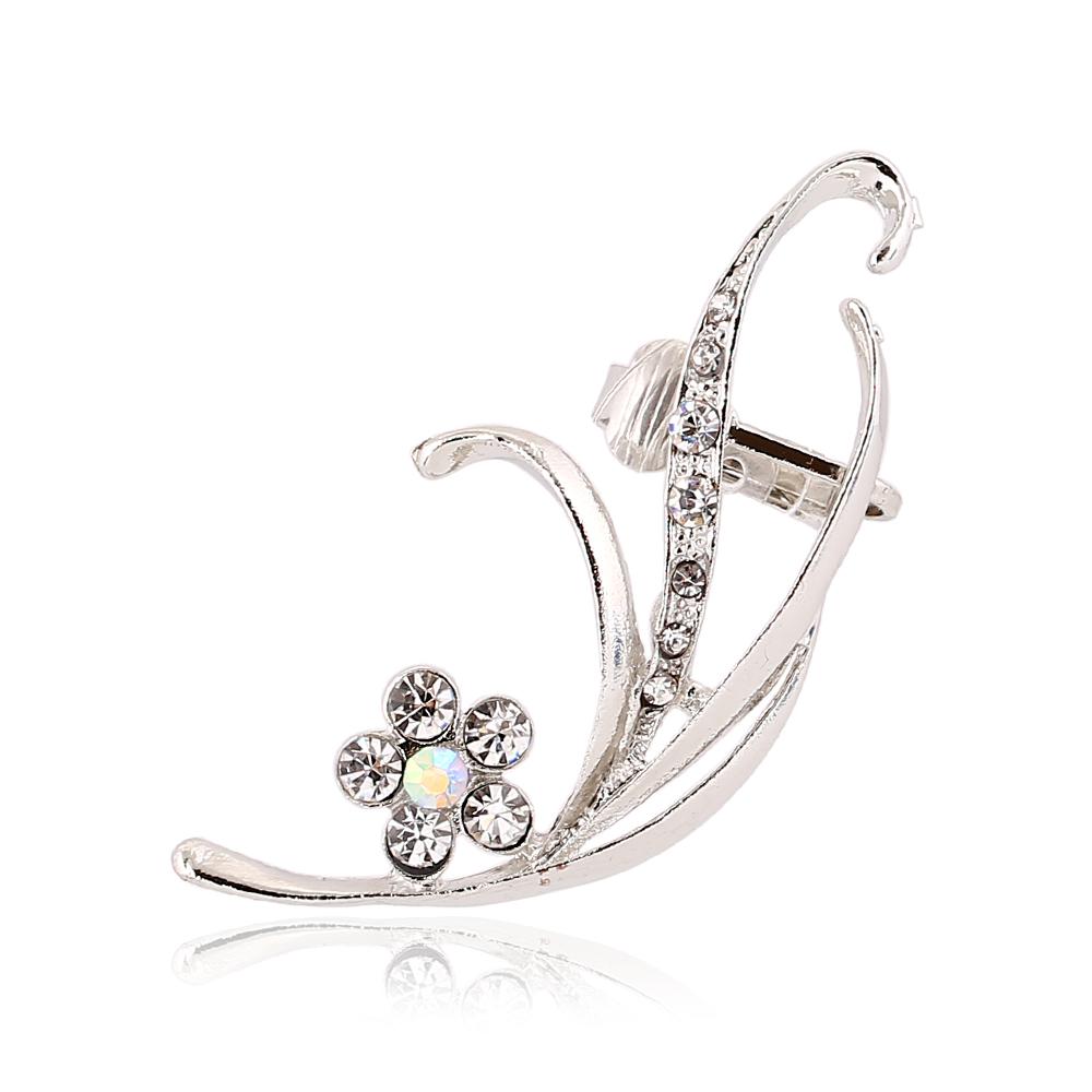 Flower Shape Crystal Lug Clip Earrings Left Right Ear Cilp Gold Silver Ear  Cuffs Earring Jewelry