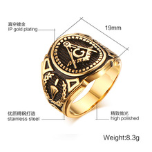 2016 New Starting Masonic Ring Stainless Steel Casting Rings Japan South Korea Black Ring Jewelry wholesale Male Ring Jewelry