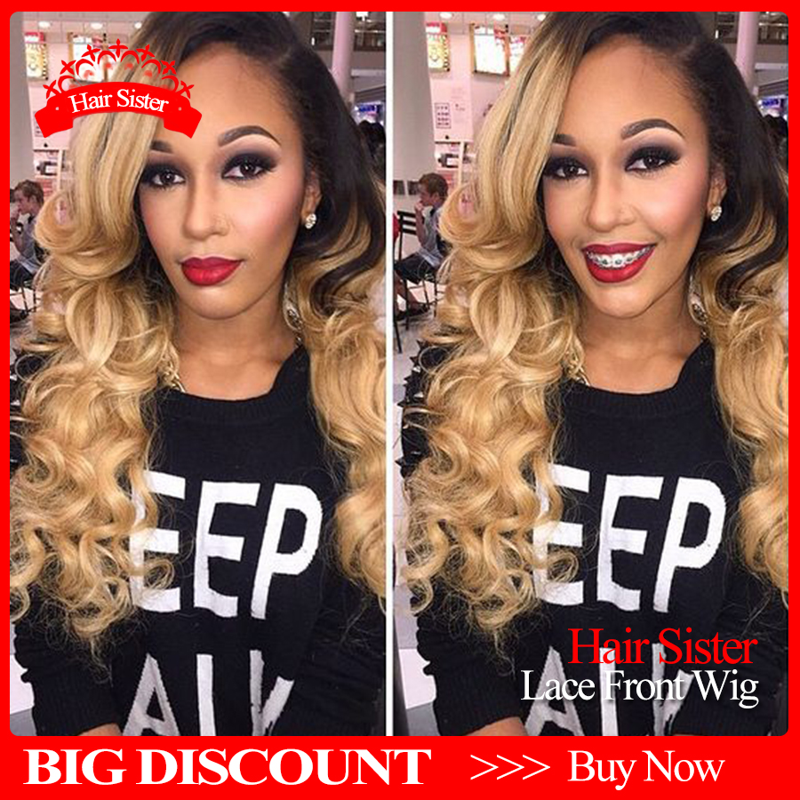 2016 New Arrivals Honey Blonde Ombre Lace Front Wig Body Wave Heat Resistant Synthetic Wig For Black Women Wholesale Fashion Wig<br><br>Aliexpress