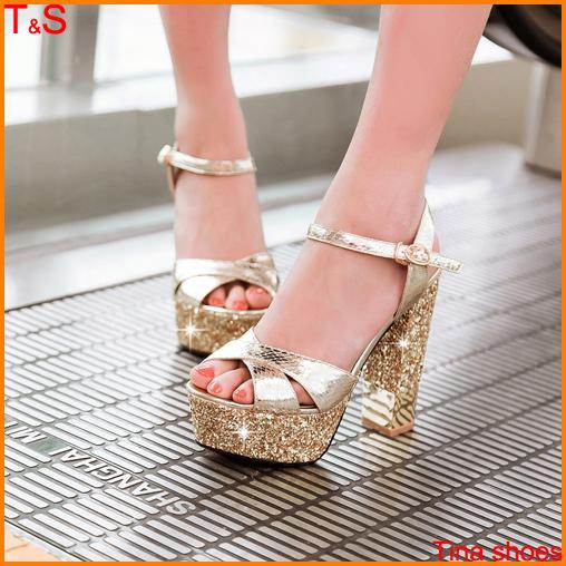 Drop Shipping Sexy  Women's Red Bottom High Heels Sandals Platform Sliver Pumps Glitter Party Summer Prom summer Shoes MD-AC0B