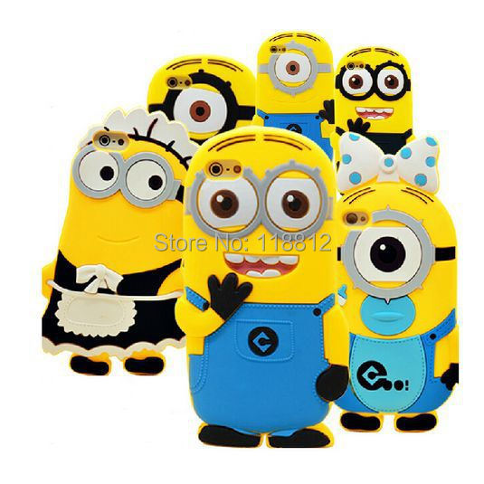 2015 new arrival cute cartoon model silicon material Despicable Me Yellow Minion Cover for iphone Case for iphone 4 4S SJK04(China (Mainland))