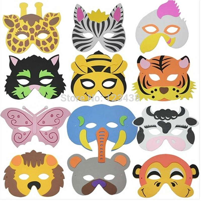 EVA Child Kids Game Dance Party Costume Masquerade Animal Face Mask,1LOT=15Random Designs(China (Mainland))