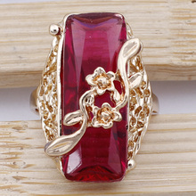 Classic Fashion Geometric Rectangle Flower Wrap Ring 18K Gold Plated Austrian Crystal Finger Rings For Women Jewelry Best Gifts