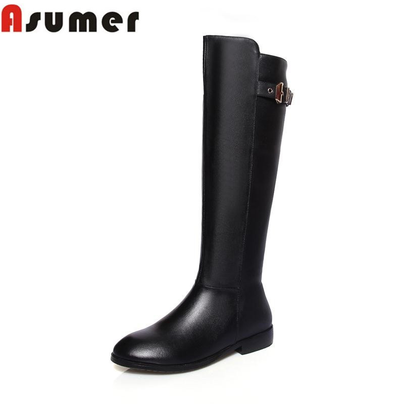 high quality autumn winter knee high boots flat with zip round toe buckle new arrival simple genuine leather women boots <br>