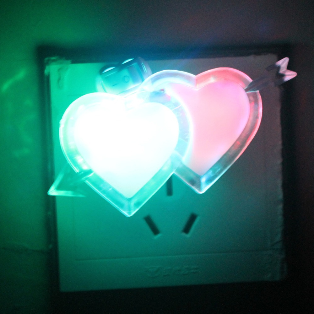 Romantic double heart colorful led night light wall lamp for Bedroom night light
