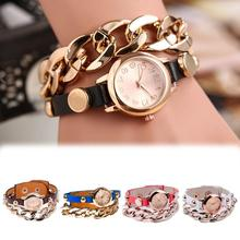 New Arrival Colorful Vintage Rivet Leather Bracelet Watches Women Watches Weave Wrap Wristwatches Watch WH 092