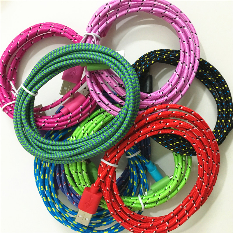 6ft 2M braided nylon 8Pin USB Charger Charging Sync Fabric Cable Data Cord For iPhone 6 5 5S 6S plus se IPAD Mini Air IPOD IOS 9(China (Mainland))