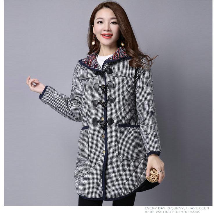 Скидки на Зимняя Куртка Женщин Новые Случайные Капюшоном Хлопка Толщиной Стиль Мода Свободные Средней Длины Осень Плюс Размер Парки Леди Вниз Пальто