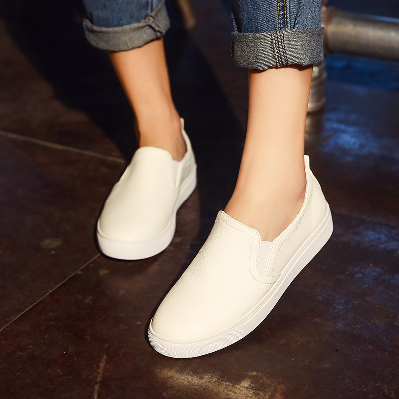 ENMAYDA New Spring and Autumn 3 Colors White Shoes Woman Loafers Flats Shoes Size 34-44 Round Toe Casual Fashion Women Shoes