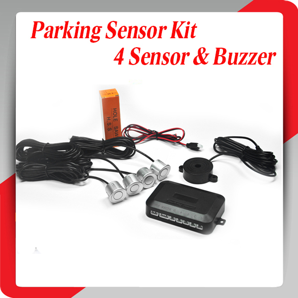 Car Led parking sensor kit seller 4 Sensors with Buzzer No Drill Hole Saw 22mm Display Reverse Backup Radar Monitor System(China (Mainland))