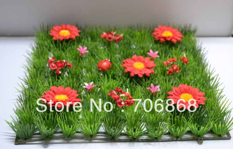 Artificial plastic grass mat boxwood mat with red daisy flower and ladybug(China (Mainland))