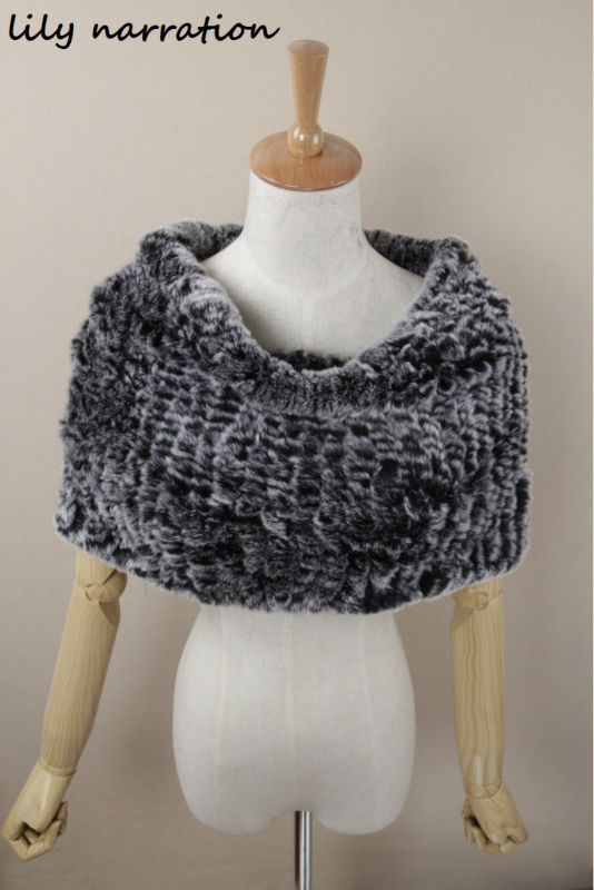 Real fur knit Knitted fabric Rex rabbit fur scarf wrap shawl stole poncho(China (Mainland))