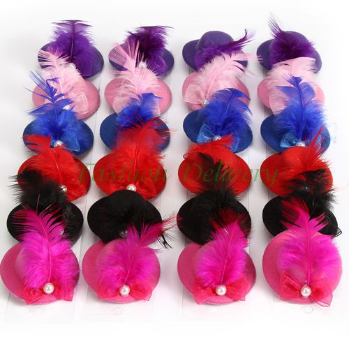 24pcs/Lot Fashion Women Hair Hat Clip Feather Pearl Lace Bowknot Top Cap Mini Party Festival Christmas Hat Fascinator Headwear(China (Mainland))