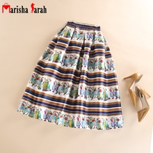 Fashion Female Skirt High Waist Striped&Peoples Print Retro Vintage Long Skirts Women Pleated Tutu Skater Skirts Large Swing