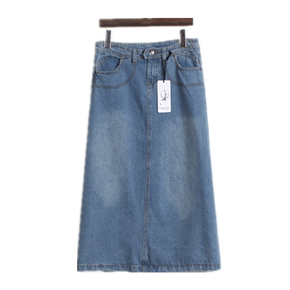 Free Shipping 2015 Autumn Fashion women's A-Line Pockets Denim Skirts Korean Style Casual Mid Calf Jeans Skirt Large Size S-XXL