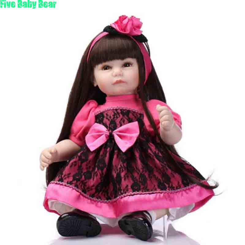 52cm Bonecas Silicone Long Hair Reborn Baby Dolls Lifelike Reborn Dolls Toys Best Gift for Girl Munecas
