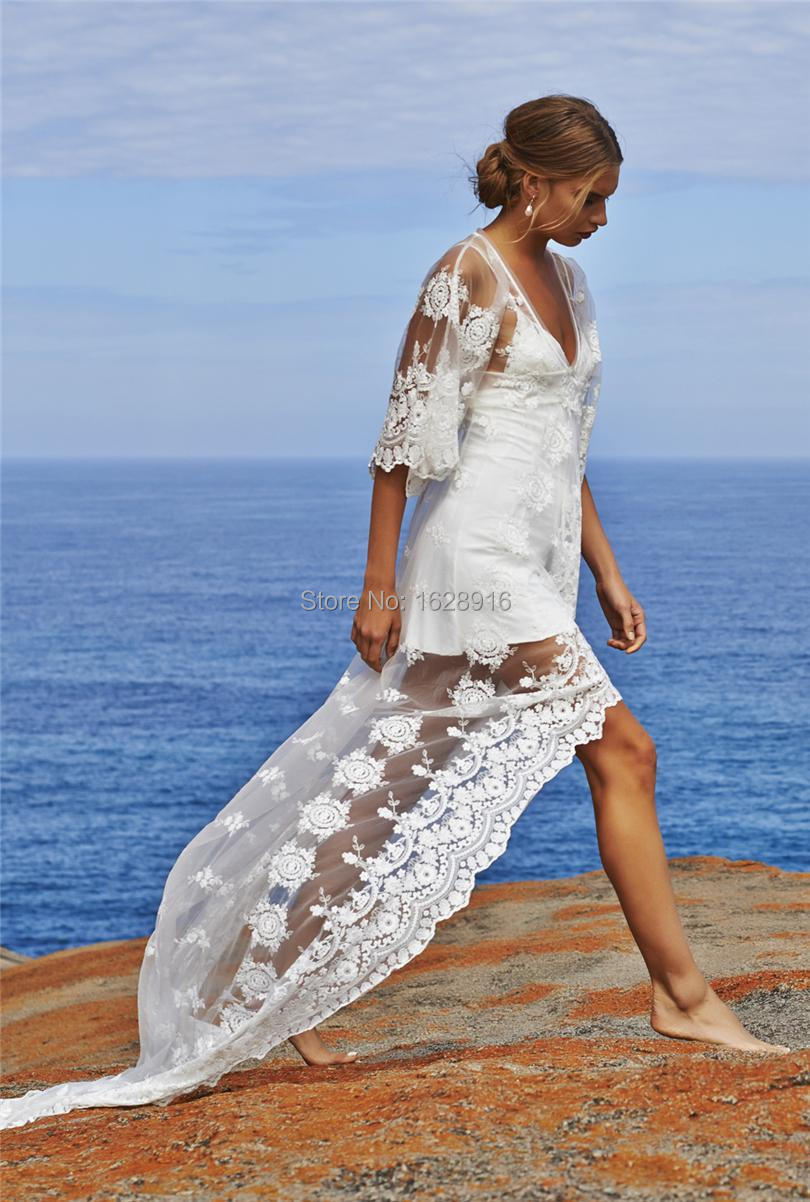 2016 women dress grace loves lace two pieces beach wedding for Beach wedding dresses with sleeves