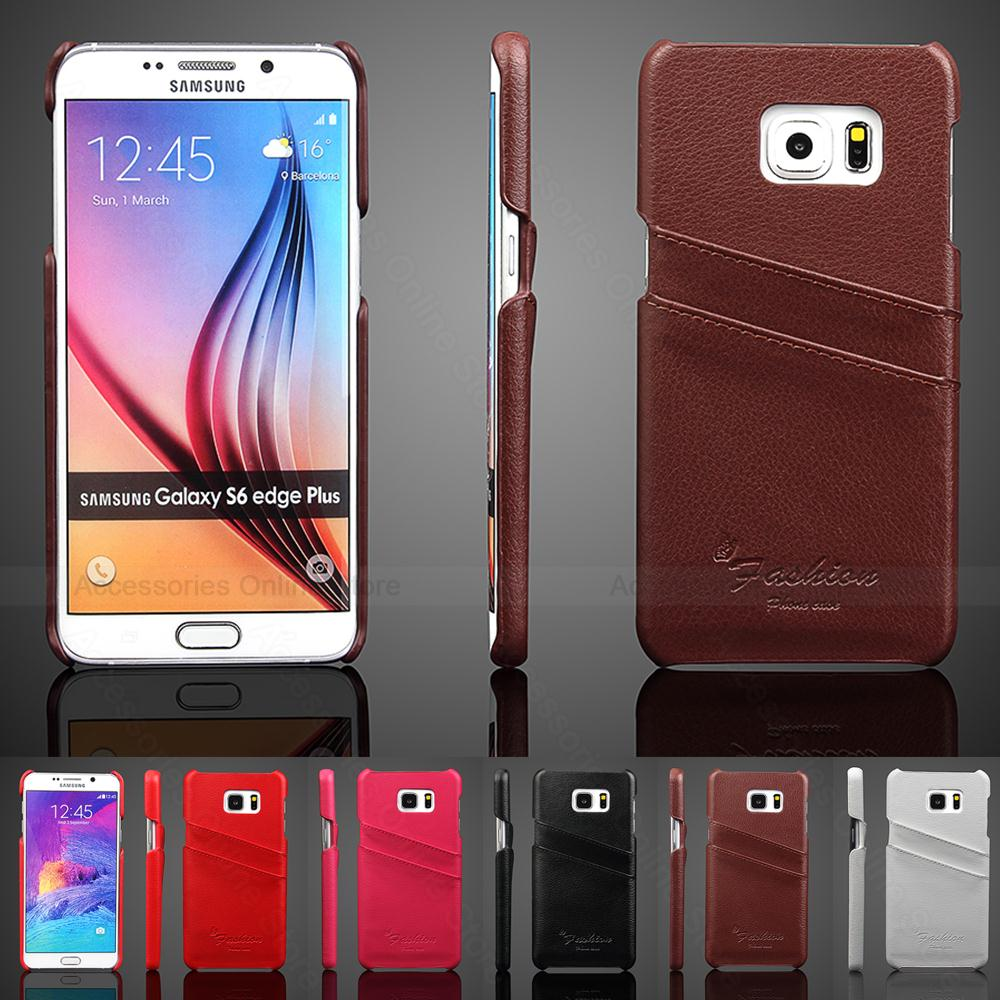 Genuine Leather Case New For Samsung Galaxy S6 Edge Plus G9200 G925 Case Luxury Smooth Wallet Leather Cover Card Holders Site(China (Mainland))