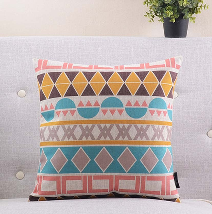 Free Shipping Colorful geometric pillow almofadas case for seat chair car bed boho style cushion cover