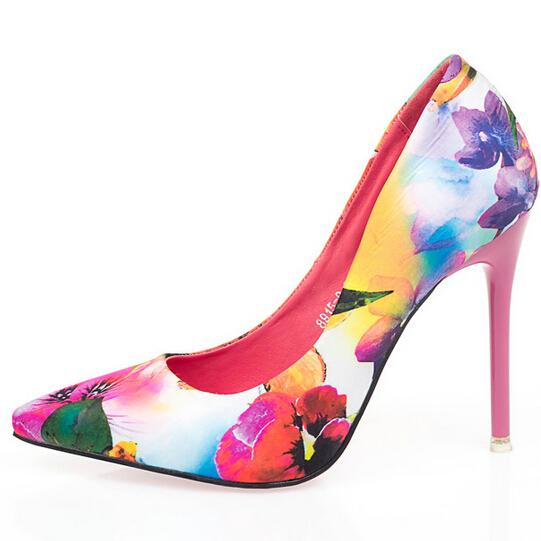 New Fashion Ladies Shoes Stiletto Floral Printed Ladies High Heels Pointed Toe Women Pump European Sexy Nightclub Women Shoes 63(China (Mainland))