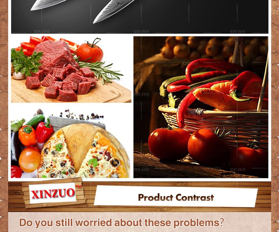 Buy XINZUO 2 pcs kitchen knife set high quality VG10 chef utility knife Japanese Damascus kitchen knife wood handle free shipping cheap