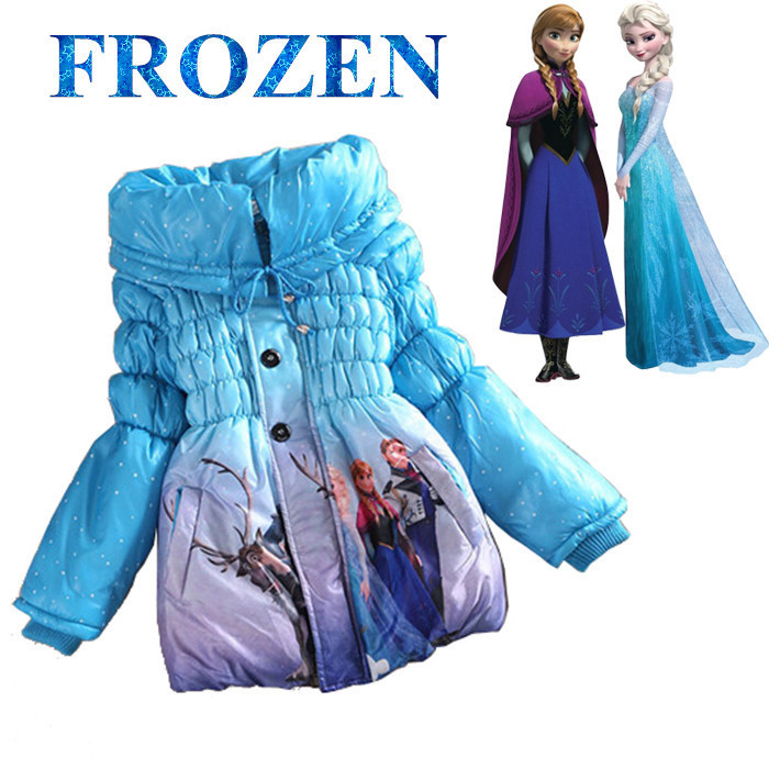 5 Colors 2014 Girls Frozen Coat Elsa Anna Baby Winter Warm Jacket Children Cotton-Padded Clothes Kids Outwear Christmas Gift - No.1 works store