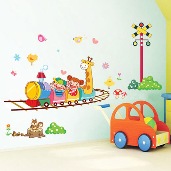 1set cartoon crazy roller coaster wall decals for kids for Stickers para decorar paredes infantiles