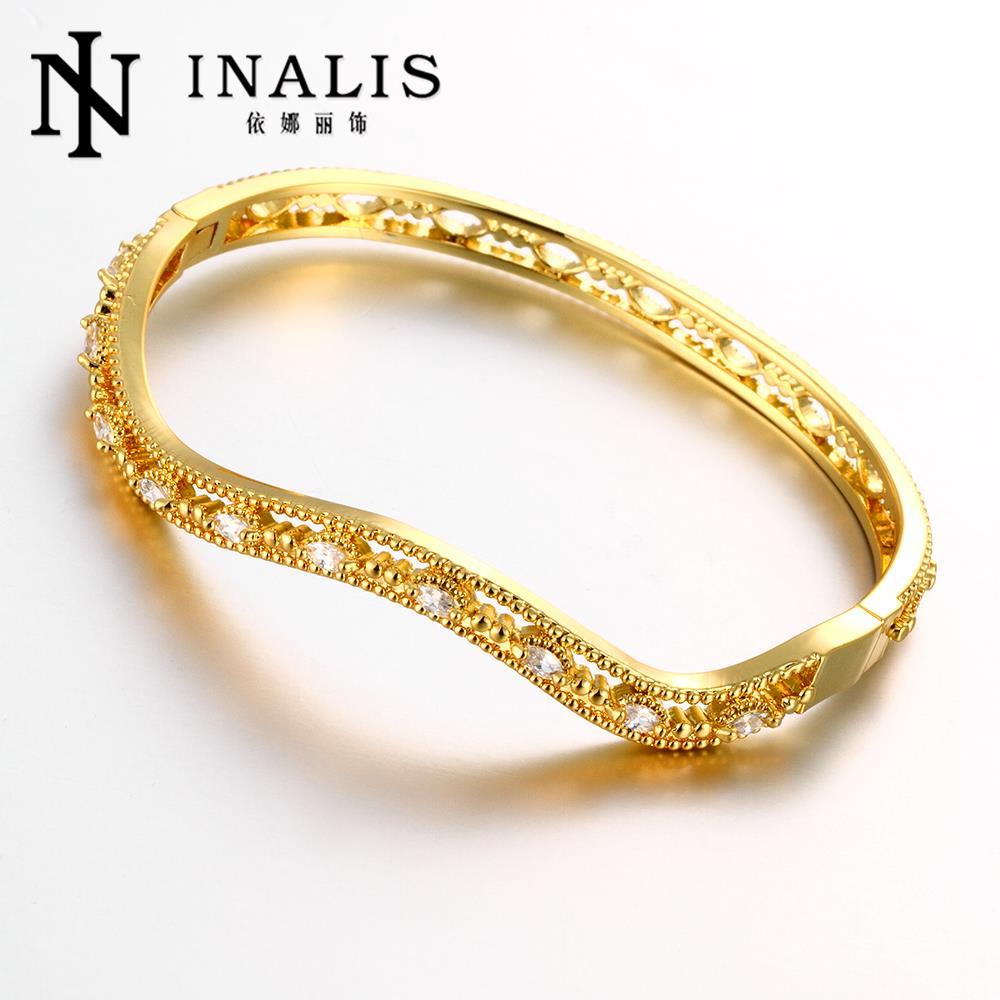 Fashion Jewellery 18K Gold Zircon Bracelets for Women Bangles Cuff Bracelet Free Shipping Z017(China (Mainland))