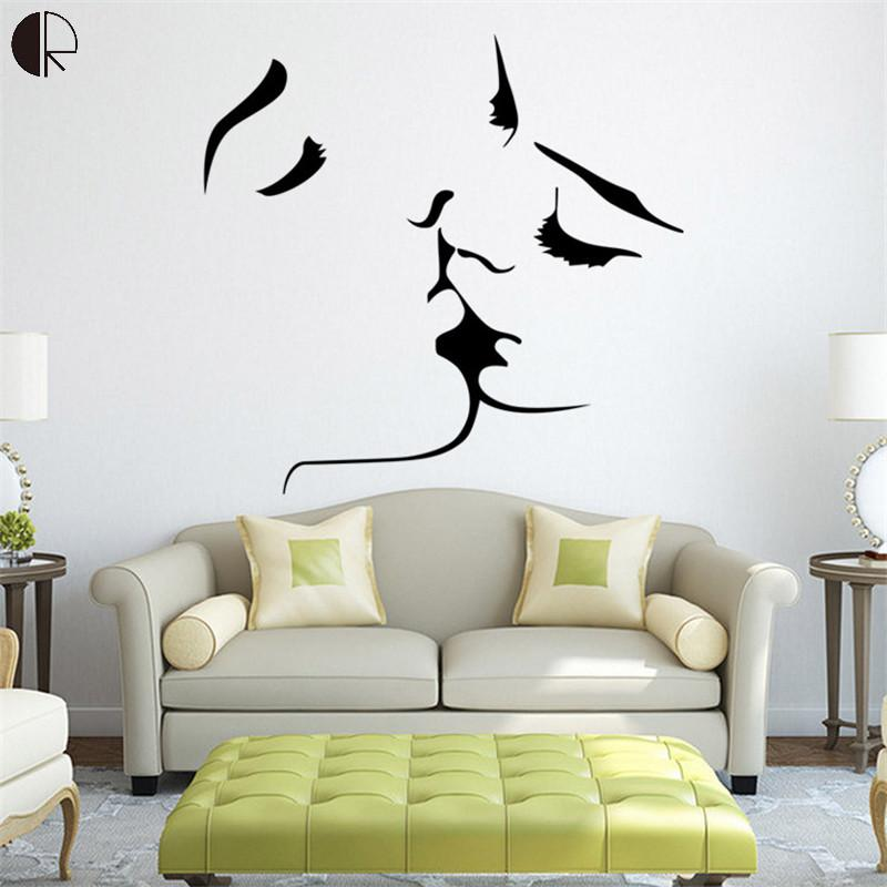 Kiss Love Fashionable Home Decor Wall Sticker On the Wall Removable Plastic Wallpaper Poster For Bedroom Decoration Art HH1358(China (Mainland))