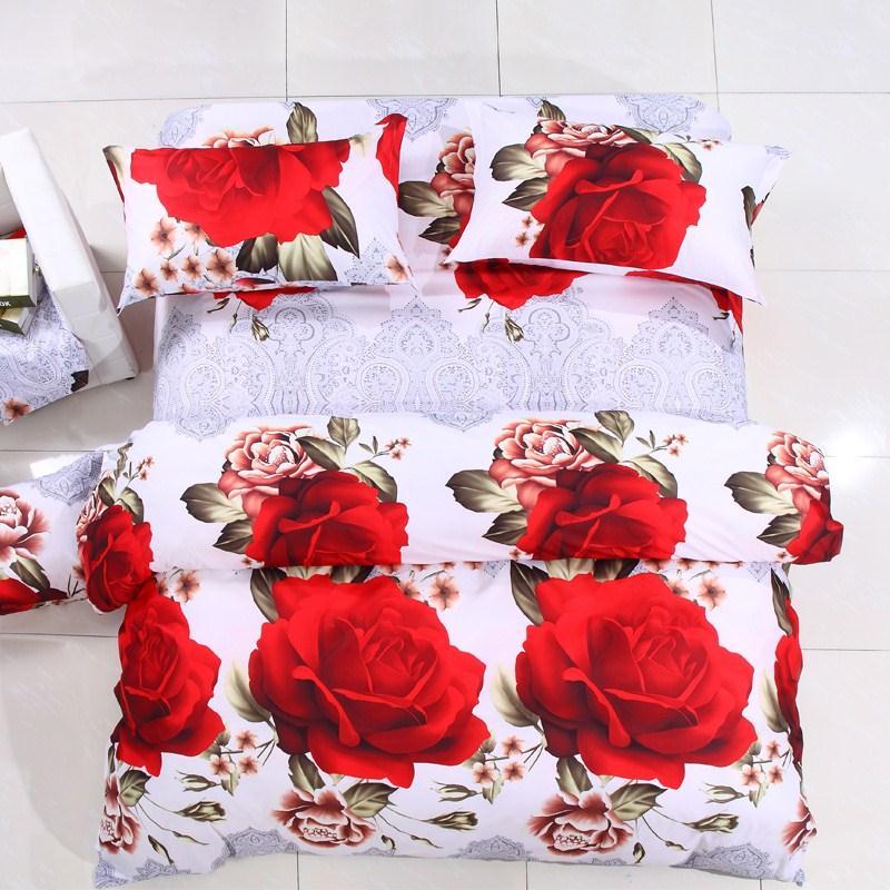 100%Cotton Reactive Print Mingjie Red Roses White 6D Bedding Sets 4PCS Duvet Cover Sets 1.8 Queen Size(China (Mainland))