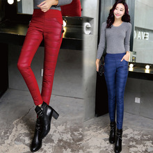 2016 Formal Pants Trousers Winter High Waisted Outer Wear Women Ladies Fashion Slim Warm Windproof Thick Down Pants Trousers(China (Mainland))