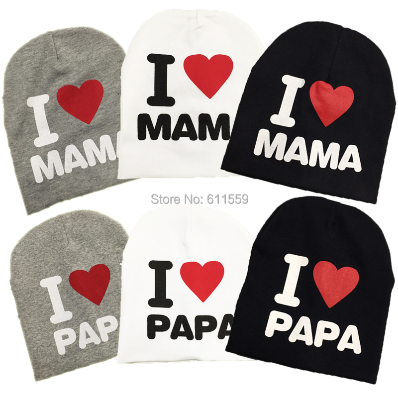 Free shipping new autumn knitted cotton beanie hat for toddler baby kids girl boy I LOVE PAPA MAMA print baby winter hat,L3070(China (Mainland))