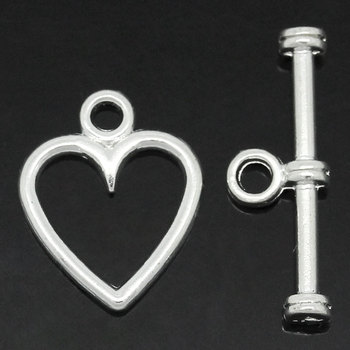 """Zinc metal alloy Toggle Clasps Heart Silver Plated 14mm x11mm( 4/8"""" x 3/8"""") 19mm x6mm( 6/8"""" x 2/8""""), 15 Sets 2016 new"""