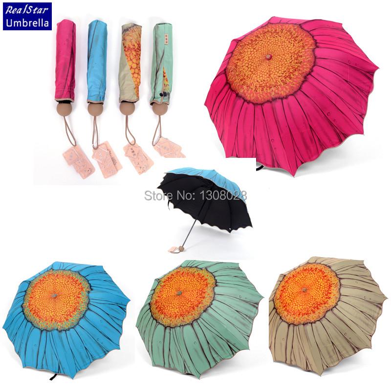 Designers Brand Women Clear Rain Folding SunFlower Umbrellas High Quality Paraguas Mujer Lady's Parasol Umbrella&Sombrinha(China (Mainland))