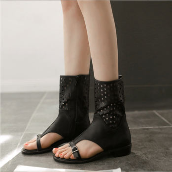 Plus Size 34-43 Lady Cut Outs Round Toe Summer Shoes Girl Fashion Belt Buckle Knight Boots Women Zipper Square Heel Sandals 89