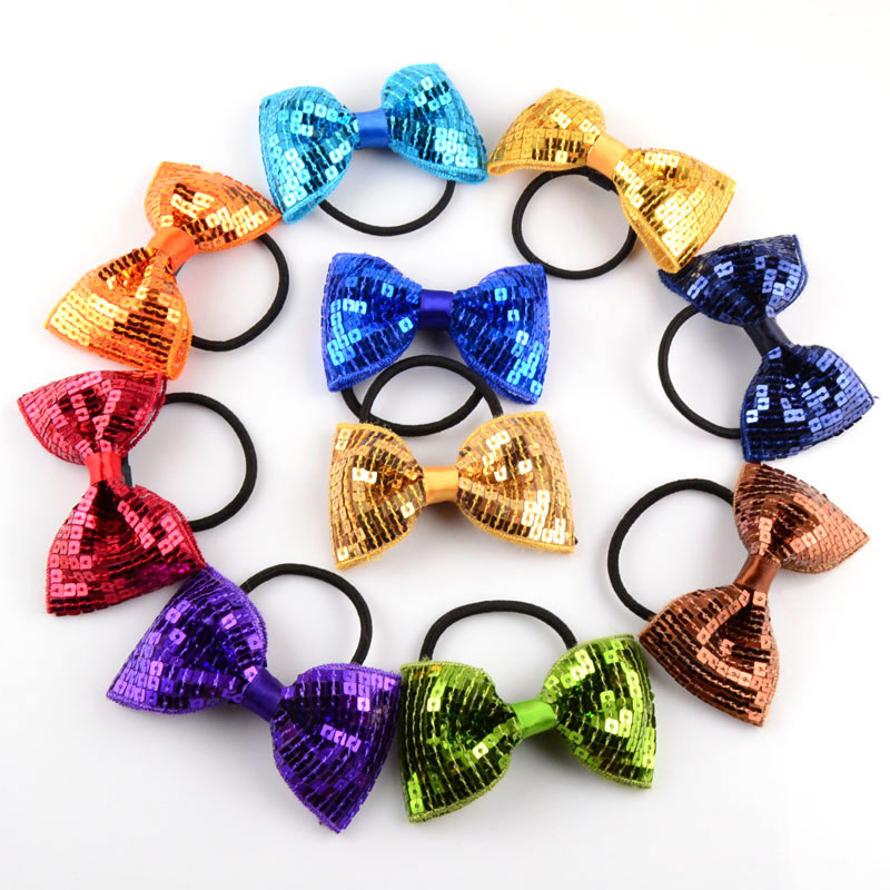 3inch plaid sequin hair bow with elastic bands baby girls hair ties 12pcs/lot(China (Mainland))