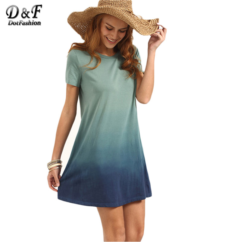 Dotfashion Multicolor Patchwork Short Sleeve T-shirt Dress Female Summer Color Block Round Neck Loose Mini Dress(China (Mainland))