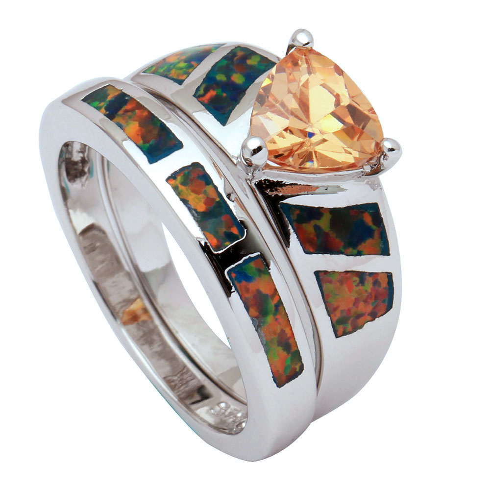 buy fire opal ring set for women jewelry. Black Bedroom Furniture Sets. Home Design Ideas