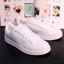 White Pink Women Casual Shoes 2016 Spring New Lace-up Flat Shoes Zapatillas Deportivas Mujer Euro size 35-40 Free Shipping