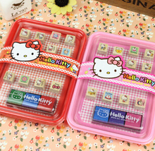 Kawaii Cartoon Hello Kitty Wooden DIY Stamp Set Student Prize Promotional Gift Stationery TRD(China (Mainland))