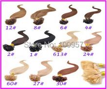 NEW Full Head Set straight 22inch Maxium volume Nail Tips hair Keratin U tip hair extension #16Strawberry blonde 1g/s 100g/pack