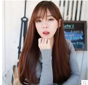 Long curly wig female FaYa light fluffy face air bang han edition Realistic scene shooting inclined bang, ms(China (Mainland))