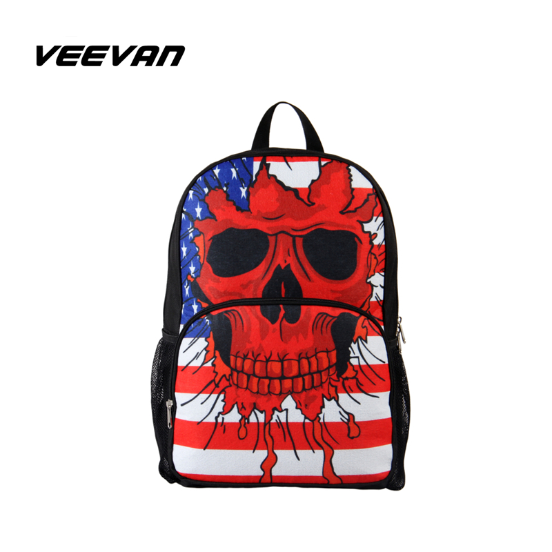 VN 3D skull backpack fashion men's backpacks casual school bags for boys wholesale school backpacks printing backpack(China (Mainland))