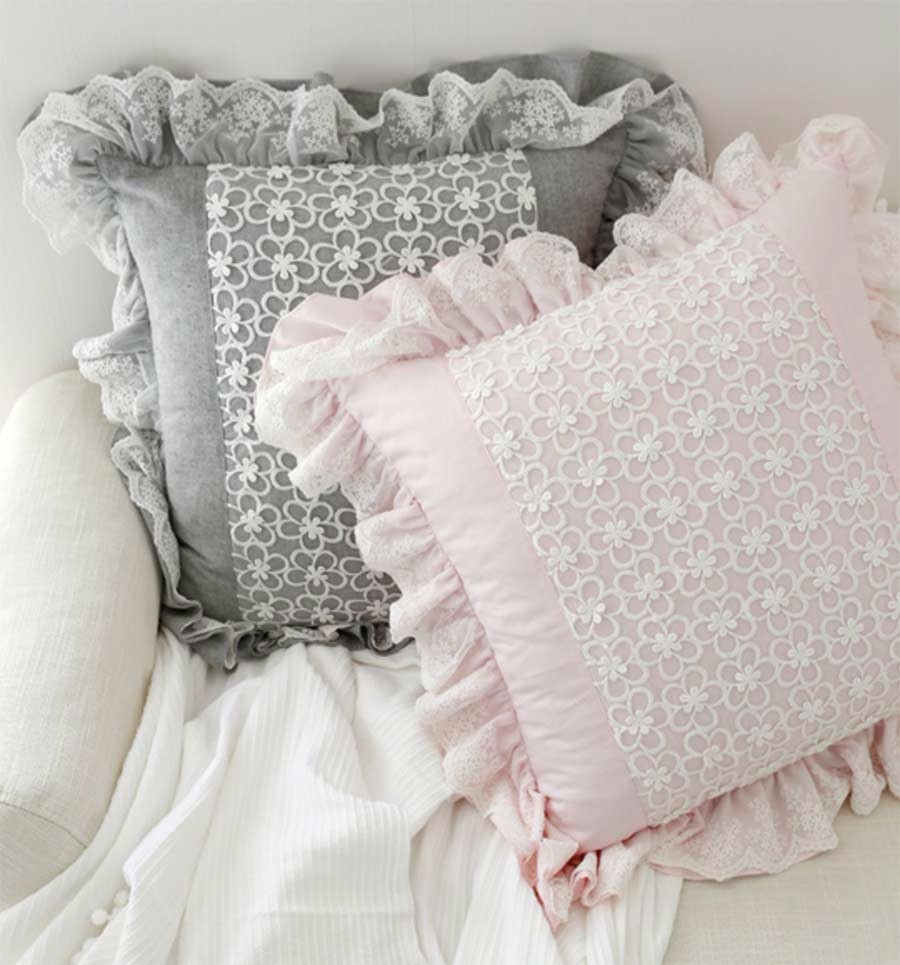 pink embroidered cushion pillow ruffle lace
