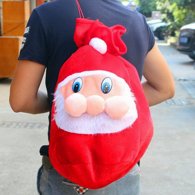 Soft Pleuche Christmas Father Santa Claus Sack Presents Gift Bag Stocking Toy Red(China (Mainland))