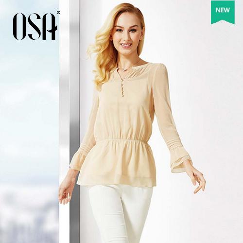 Big Promotion ! OSA 2015 Women Fashion Chiffon Puff Sleeve Shirt Elastic Waist Ruffles Thin Ladies Top Blouse SC410190(China (Mainland))